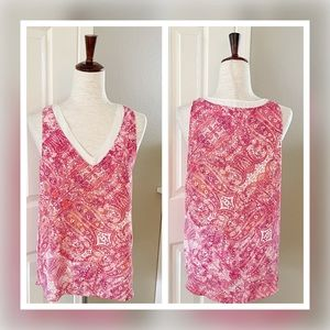 Violet + Claire Pink Paisley Sleeveless Blouse Top